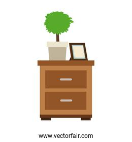 Drawer with plant and picture