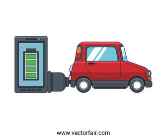 ELectric car and smartphone