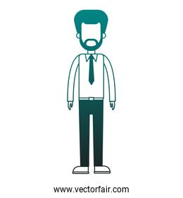 Businessman avatar cartoon in blue lines