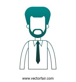 Businessman avatar cartoon profile in blue lines