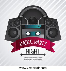 Speaker and cassette icon. Dance and Music design. Vector graphi