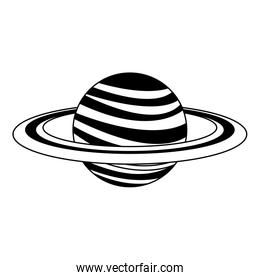 Saturn planet isolated in black and white
