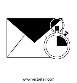 Envelope mail and clock in black and white