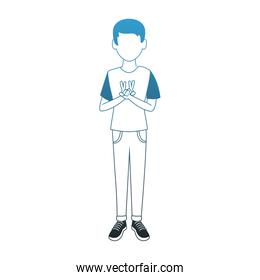 Young man doing peace hand sign blue lines