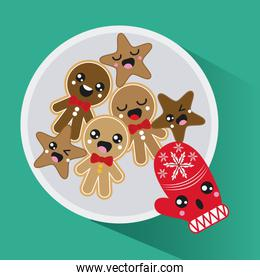Kawaii glove and cookie. Merry Christmas design. Vector graphic