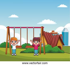 Kids playing at park cartoons