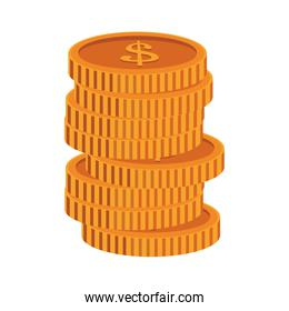 Coins stacked isolated