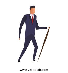 Businessman with walking stick isolated icon