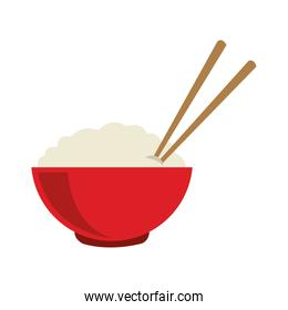 Rice on bowl with chopsticks