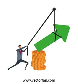 Businessman pulling arrow up with rope