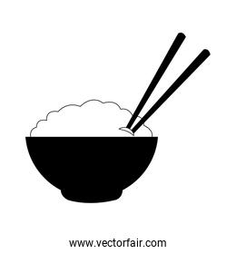 Rice on bowl with chopsticks in black and white