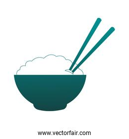 Rice on bowl with chopsticks in blue lines