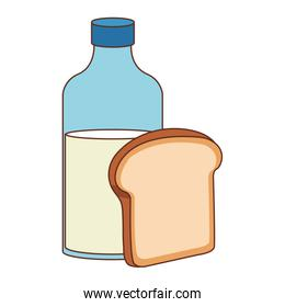 Milk bottle and bread