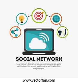 Laptop and icon set. Social Network design. Vector graphic