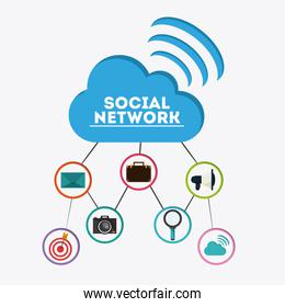 Icon set. Social Network design. Vector graphic