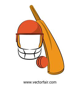 Cricket ball and bat with helmet