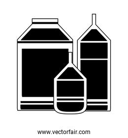 Milk bottle and boxes in black and white