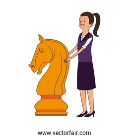 female with chess piece