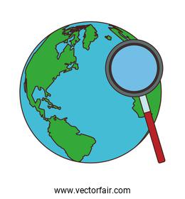 Magnifying glass checking world