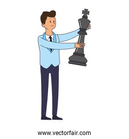 Businessman with chess piece
