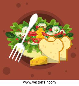 Healthy and delicious salad with fork