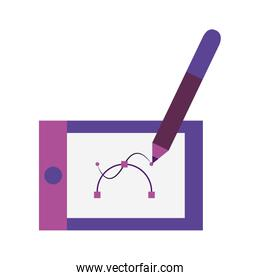 Drawing tablet technology over white