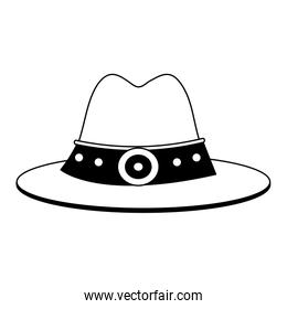 Cowboy hat symbol in black and white