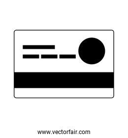 Credit card symbol in black and white