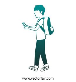 Young man with backpack in blue lines