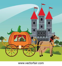 Kingdom castle and horse with carriage