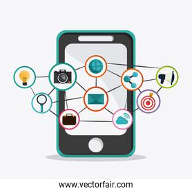 Smartphone and icon set design. Social Network. Vector graphic