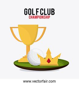 ball crown and trophy cup icon. Golf sport design. Vector graphi