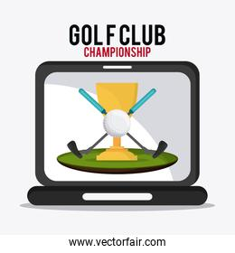 ball and clubs icon. Golf sport design. Vector graphic