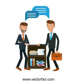 faceless businessmens talking at office