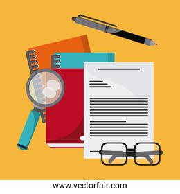 document pen lupe glasses book notebook icon