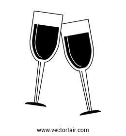 Wine cups symbol in black and white