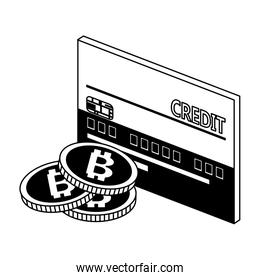 Credit card and bitcoins in black and white