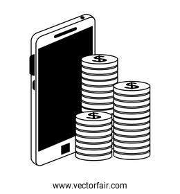 Smartphone and coins in black and white