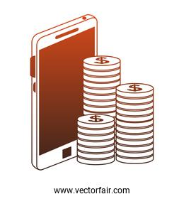 Smartphone and coins red lines