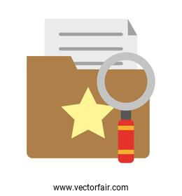 Magnifying glass on folder with documents