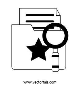 Magnifying glass on folder with documents in black and white