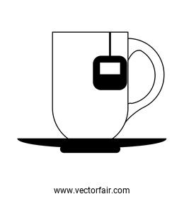 Hot tea cup with bag in black and white