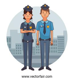 smiling police officers cartoons