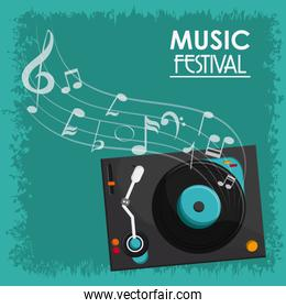 vinyl music note sound media festival icon. Vector graphic