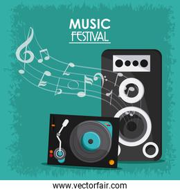 music note speaker vinyl sound media festival icon. Vector graph