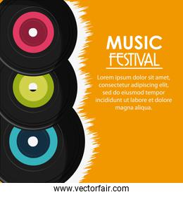 vinyl music sound media festival icon. Vector graphic