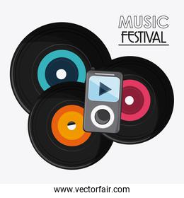 vinyl mp3 music sound media festival icon. Vector graphic