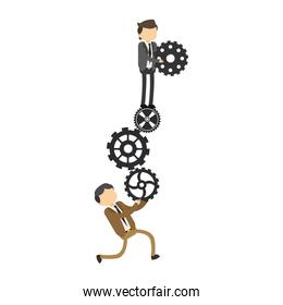 Businessmen holding gears isolated icon