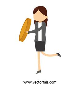 Businesswoman holding coin