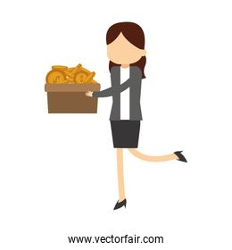 Businesswoman holding coins in box